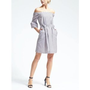 Swiss Dot Off-Shoulder Dress | Banana Republic