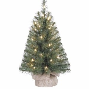 Holiday Time Pre-Lit 2' Noble Fir Artificial Christmas Tree, Clear Lights - Walmart.com