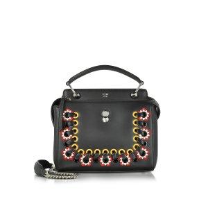 Fendi Dotcom Click Black Leather Handbag w/Stitching