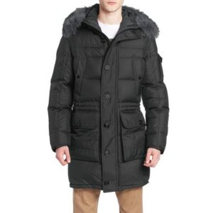 Afton Coyote Fur-Trimmed Puffer Coat