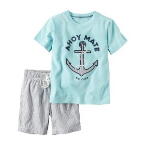 Baby Boy 2-Piece Graphic Tee & Striped Short Set | Carters.com