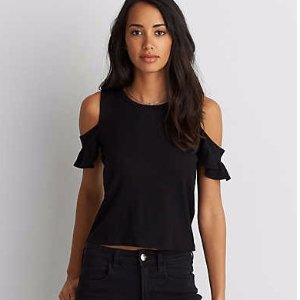 AEO Soft & Sexy Ribbed Flutter Cold Shoulder T-Shirt , True Black | American Eagle Outfitters