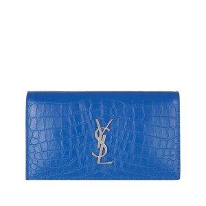 Saint Laurent Kate Croc-Embossed Monogram Clutch Bag