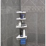 Homitex Bathroom Corner Shelf Triangular Bathroom 4-Tier Tension Corner Caddy White