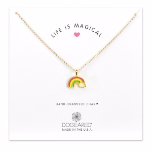 14K Gold Plated Sterling Silver Life is Magical Rainbow Charm Necklace