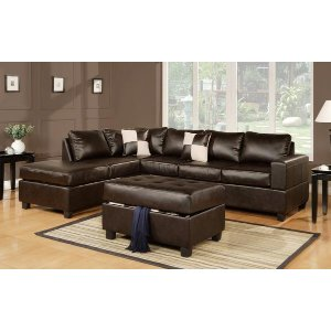 Cruce Modern Reversible Bonded Leather Sectional - Sofamania