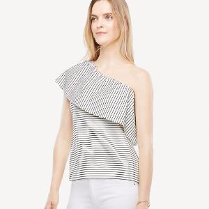 Deep Ruffle One Shoulder Striped Top | Ann Taylor