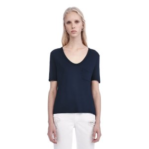 CLASSIC CROPPED TEE WITH POCKET | TOP | Alexander Wang Official Site