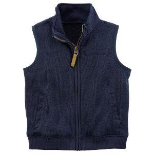 Zip-Up Sweater-Faced Vest