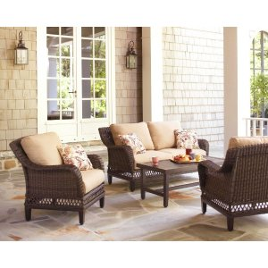 Hampton Bay Woodbury 4-Piece Patio Seating Set with Textured Sand Cushion-DY9127-4-LV - The Home Depot