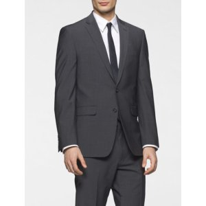 body slim fit grey chambray suit jacket | Calvin Klein