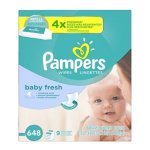 Pampers Baby Wipes Baby Fresh 9X Refill, 648 Diaper Wipes
