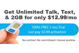 $0.99 + Free ShippingFreedomPop Unlimited Talk, Text, and 2GB LTE 1-mo. Trial