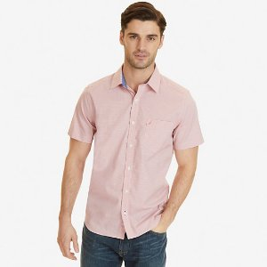 Classic Fit Wrinkle Resistant Coral Plaid Short Sleeve Shirt - Coral Fire | Nautica