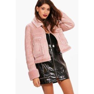 Boutique Emma Faux Fur Pocket Aviator Jacket | Boohoo