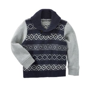 Kid Boy Fair Isle Shawl Collar Pullover | OshKosh.com