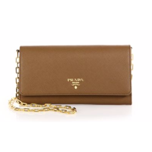 Prada - Saffiano Leather Chain Wallet - saks.com