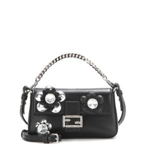 Micro Baguette crystal-embellished leather shoulder bag