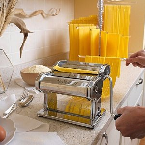 $60.04 Marcato Atlas Pasta Machine, Stainless Steel, Silver, Includes Pasta Cutter, Hand Crank, and Instructions