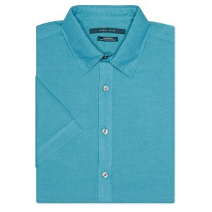 Short Sleeve Solid Linen Shirt - Perry Ellis