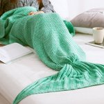 Lightning deal Holidayli Handmade Knitted Mermaid Tail Blankets for Adults Women Girls