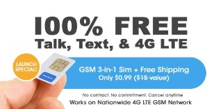 $0.99FreedomPop 3-In-1 4G LTE SIM Kit: Unlimited Talk & Text + 2GB Data Trial