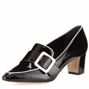 Manolo Blahnik Teno Patent Buckle Loafer, Black/White