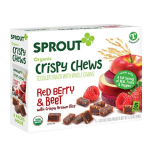 Sprout Organic Baby Food, Sprout Crispy Chews Organic Toddler Snacks, Red Berry & Beet Crispy Chews Fruit Snack, Gluten Free, Made with Whole Grains and Real Fruits & Vegetables, 5 Count