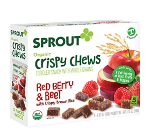$1Sprout Organic Baby Food, Sprout Crispy Chews Organic Toddler Snacks, Red Berry & Beet Crispy Chews Fruit Snack, Gluten Free, Made with Whole Grains and Real Fruits & Vegetables, 5 Count