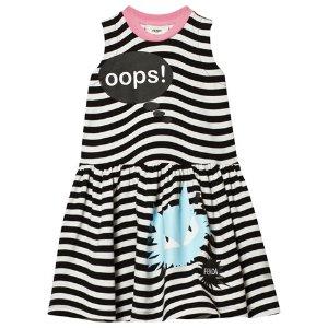 Fendi Black and White Stripe Monster Oops Print Dress | AlexandAlexa