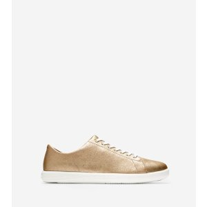 Women's Grand Crosscourt Sneakers in Gold Metallic-White   Cole Haan