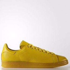 adidas Originals Men's Stan Smith Perforated Leather Yellow Athletic Sneakers