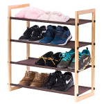 Stackable Wooden Shoe Rack, MaidMAX 4 Tiers Shoe Storage Rack Nonwoven Shoe Shelf Organizer with Wooden Frame for Shoes in Entryway and Hallway, Brown