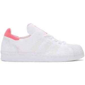 adidas Originals: White & Pink Superstar 80's PK Sneakers | SSENSE