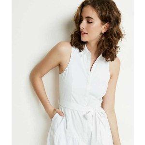 Sleeveless Drop Waist Shirt Dress