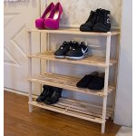 Lavish Home 4-Tier Blonde Wood Shoe Rack