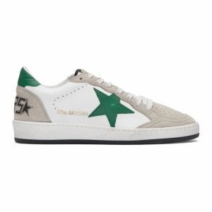 White & Grey Ball Star Sneakers