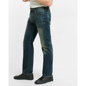 Loose Straight Dark Wash Faded Stretch Jeans