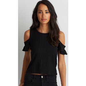 AEO Soft & Sexy Ribbed Flutter Cold Shoulder T-Shirt