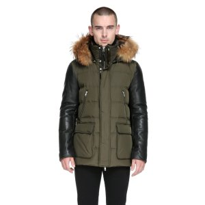GAVIN DOWN COAT WITH LEATHER SLEEVES AND FUR HOOD