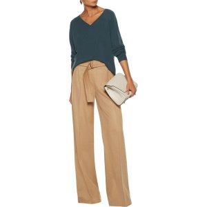 Pleated felt wide-leg pants