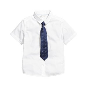 Shirt with Tie/bow Tie | White | Kids | H&M US