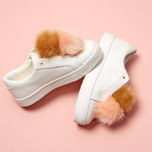 Sam Edelman Leya Faux Fur-Accented Leather Sneakers @ Lord & Taylor