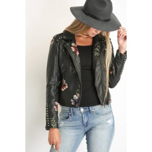 Blank Embroidered Floral Moto Jacket | South Moon Under