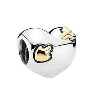 PANDORA Love Struck Heart 14K & Silver Charm