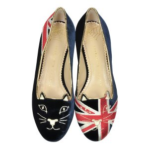 Charlotte Olympia GB Multicolor Velvet Kitty Flat 35 IT/EU at FORZIERI