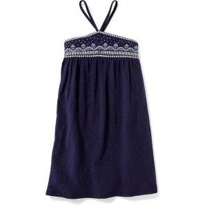 Embroidered V-Strap Swing Dress for Girls