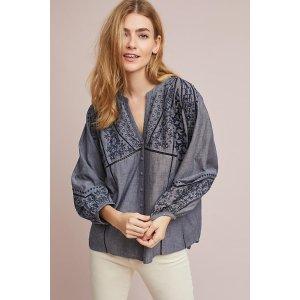Embroidered Peasant Buttondown
