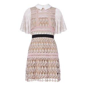 Floral Lace Blush Cape Dress