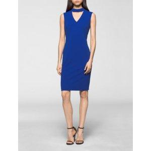 crepe cut-out sleeveless dress | Calvin Klein